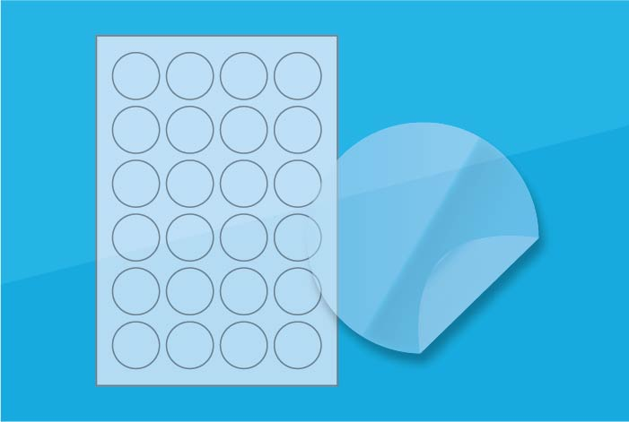 Clear Round Labels 40 mm Gloss Finish