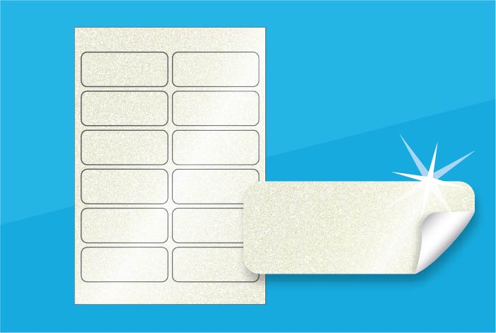 Pearlised Rectangle Labels 95.5 x 38.1 mm