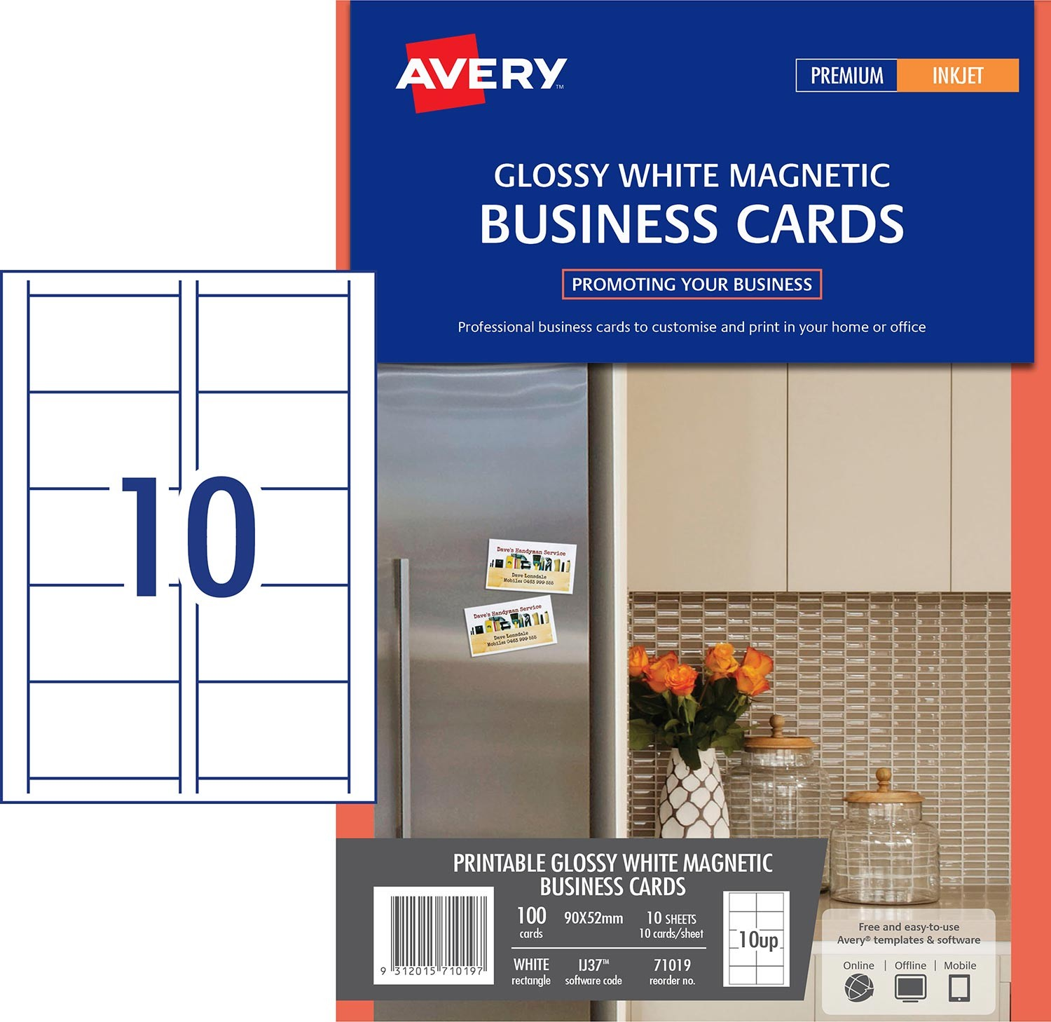 Magnetic gloss finish business cards 71019 avery australia software template overview reheart Choice Image