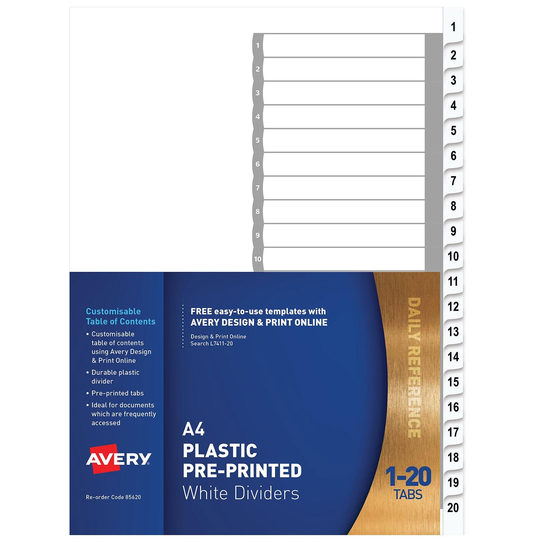 Plastic Pre-printed Dividers, White, 1-20 Tabs   85620