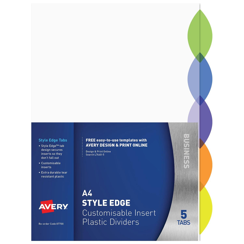 Style Edge Customisable Insert Dividers 5 Tabs 87700 Avery