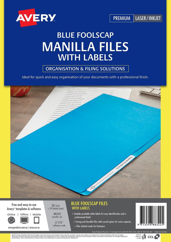 Blue Manilla Folder with Labels | 88322 | Avery Australia