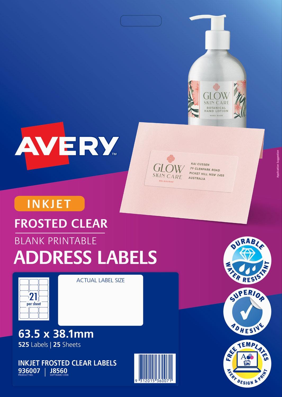 Frosted clear address labels 936007 avery australia frosted clear address labels 635 x 381 mm inkjet permanent saigontimesfo