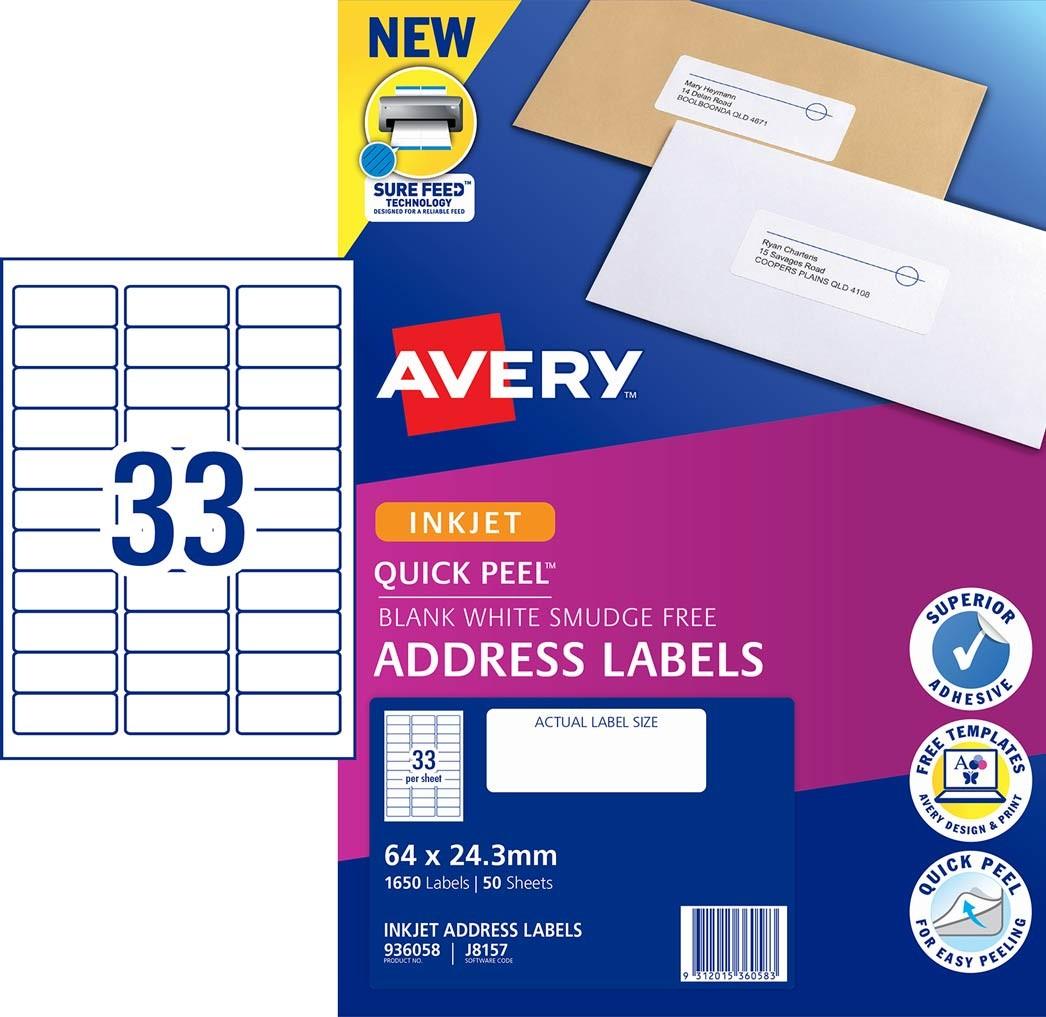 Address Labels With Quick Peel 936058 Avery Australia