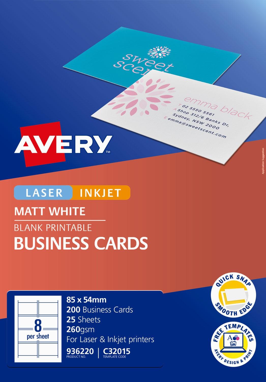Matt Finish Business Cards   936220   Avery Australia