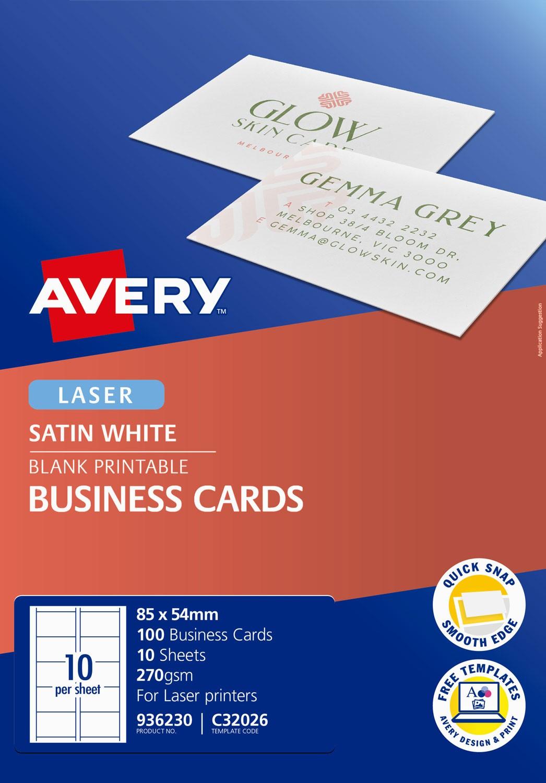 Satin Finish Business cards | 936230 | Avery Australia