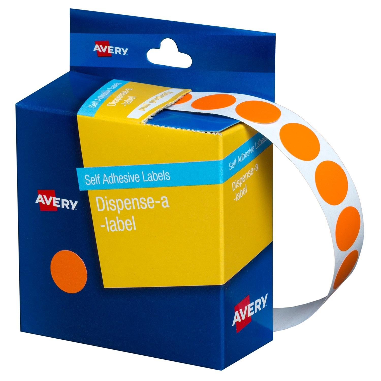 Orange Circle Dispenser Labels