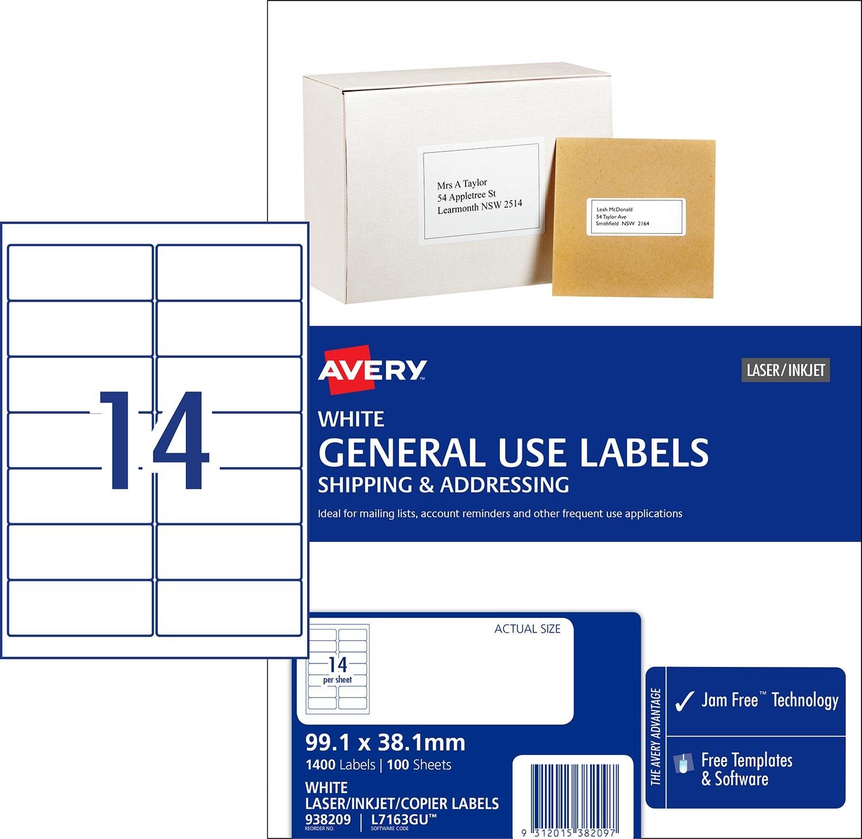 General Use Labels Avery Australia - Copier labels template
