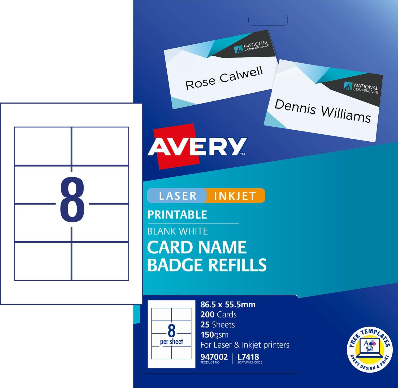 Card Name Badges Refill 947002 Avery Australia