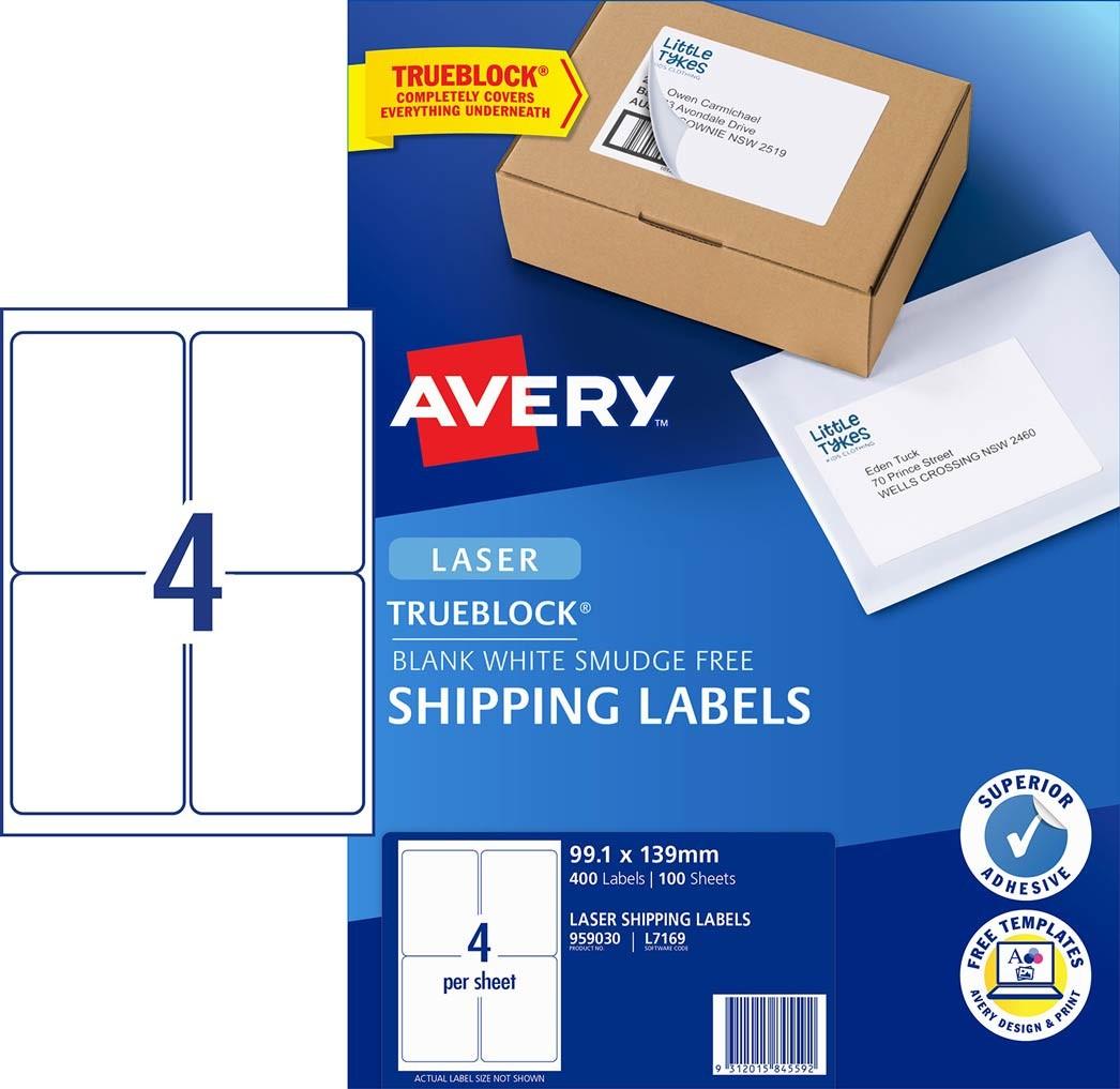 shipping labels with trueblock 959030 avery australia