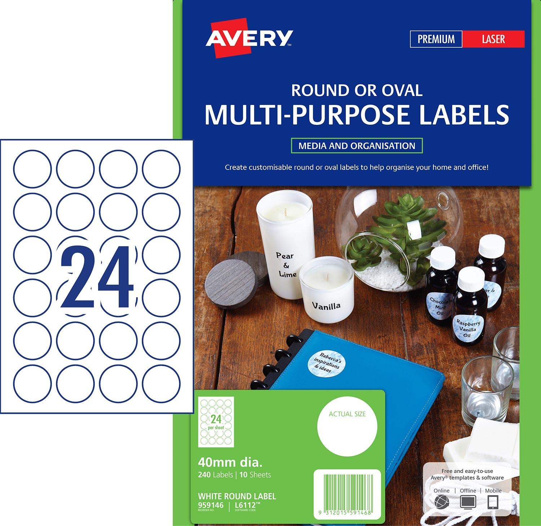 Round multi purpose labels 40 mm diameter laser white