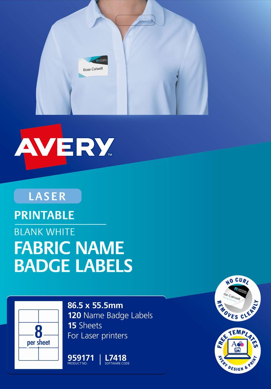 fabric name badge labels 959171 avery australia