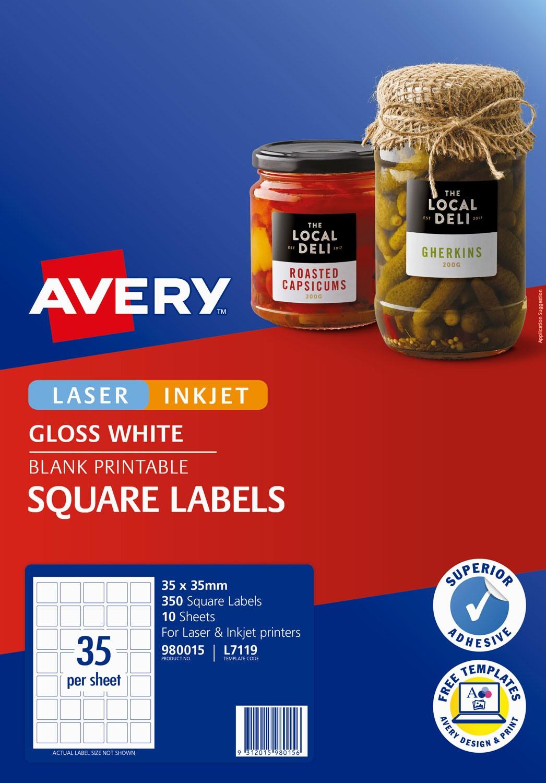 Glossy Square Labels 980015 Avery Australia