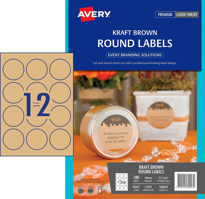 Kraft Brown Round Labels 980029 Avery Australia