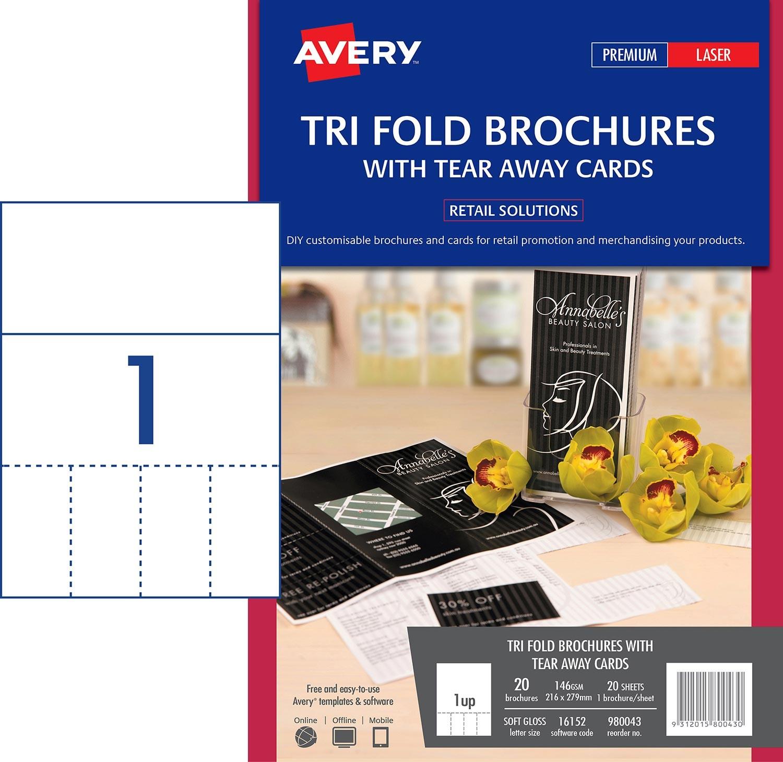 Brochure with tear away cards 980043 avery australia for Avery brochure template