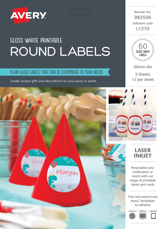 glossy round labels | 982506 | avery australia