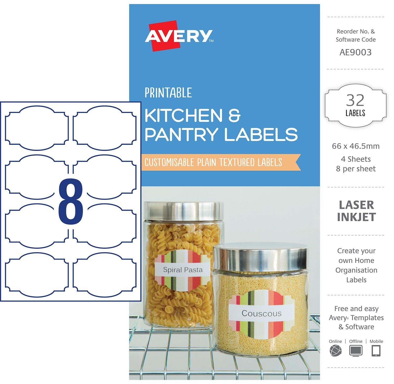 kitchen pantry labels ae9003 avery australia
