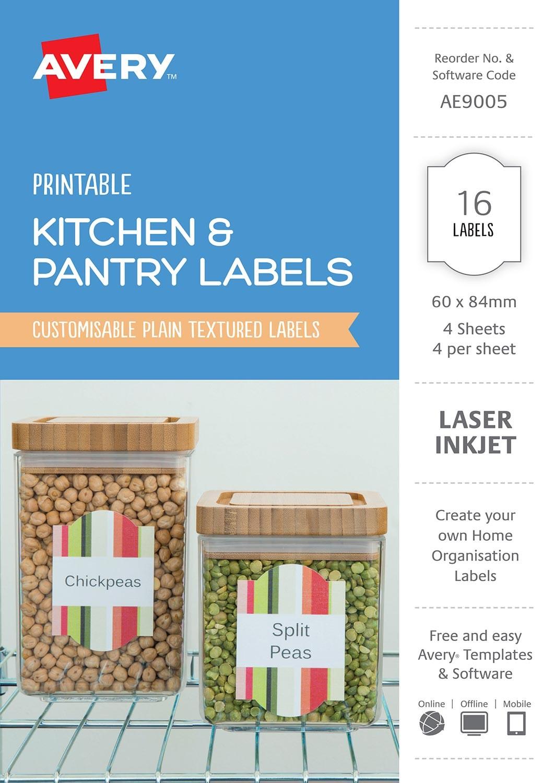 Kitchen pantry labels ae9005 avery australia - Free kitchen design software australia ...
