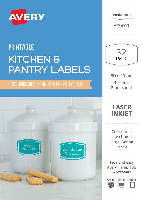 Kitchen pantry labels ae9011 avery australia - Free kitchen design software australia ...