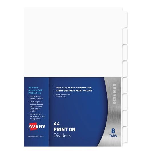 Print Apply Label Dividers White 12 Tabs 930114 Avery Australia